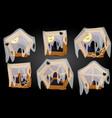 cartoon wooden windows spider web halloween scary vector image
