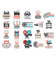 cinema badges movie production symbols camera vector image