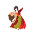 count dracula biting a beautiful woman vampire vector image vector image