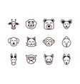 cute face animals cartoon icons set thick line vector image vector image