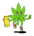 cute friendly green natural leaf cannabis vector image vector image