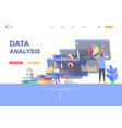 data analysis flat landing page template vector image vector image