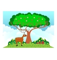deer under the tree in sunny weather vector image vector image