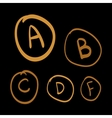 Doodle grades set of gold hand drawn vector image