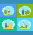 farmer working in garden cartoon set of banners vector image vector image