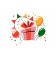 festive box with gift colorful surprise with red vector image vector image