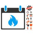 flame calendar day icon with valentine bonus vector image vector image