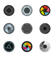 focus photo icons set flat style vector image vector image