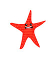 funny smiling red cartoon starfish character vector image vector image