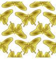 golden butterfly seamless pattern vector image