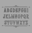hand drawn label font for design in vintage style vector image vector image