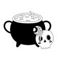 happy halloween cauldron skull and creepy eye vector image vector image