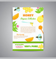 honey newsletter with flat honey elements poster vector image vector image