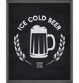 Ice cold beer poster Pub emblem on chalkboard vector image