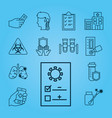 icon set covid19 test and hospital building line vector image vector image