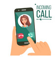incoming call woman face on mobile vector image vector image