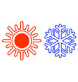 isolated sun and snowflake vector image vector image