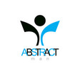 joyful abstract individual with raised hands up vector image vector image