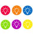 light lamp sign icon idea symbol round colourful vector image