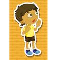 Little boy in yellow shirt shouting vector image