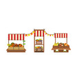 market stand with fresh farm vegetables and fruits vector image