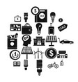 monetary relations icons set simple style vector image