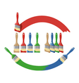 Paint brush and dab paint multi color set vector image vector image