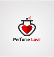 perfume red love with elegant concept logo icon vector image