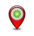 red map point with coronavirus vector image