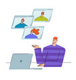 remote team work teamwork of a group of people vector image