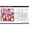 santa characters coloring book vector image vector image