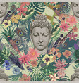 seamless vintahe style pattern with buddha vector image vector image
