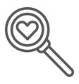 searching for love line icon amour and lens vector image vector image