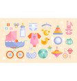set baby goods icons in muted colors vector image vector image