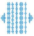 set blue ethnic geometrical borders isolated on vector image