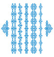 set of blue ethnic geometrical borders isolated on vector image