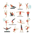 set of people in sport gymnastic positions vector image vector image