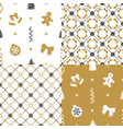 set patterns with decorations vector image