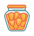 small canned carrots in jar isolated cartoon vector image vector image