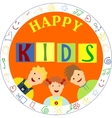 smiling children and the words Happy kids vector image vector image