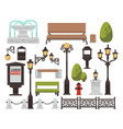 street decor bench and streetlight bush and fence vector image