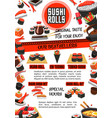 sushi menu banner of japanese food restaurant vector image vector image