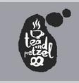 tea and pretzel in a speech bubble vector image vector image