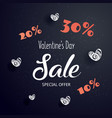valentines day sale text with gift crazy discoun vector image vector image