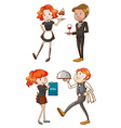 Waiters and waitresses vector image