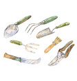 watercolor icons of gardening instruments vector image vector image
