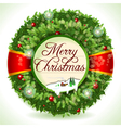 Wreath Christmas with Snowed Landscape vector image vector image