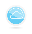 glossy round icon clouds on a blue background vector image