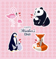 happy mothers day animals cartoon vector image