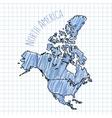 blue pen hand drawn north america map vector image